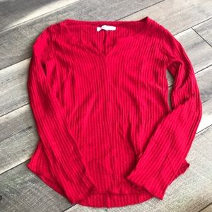 7/$20 Red waffle knit long sleeve